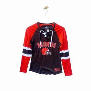 majestic nfl cleveland browns lace up long sleeve